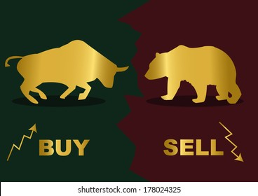 Gold silhouette of a bear and bull.Inscription Buy and Sell.