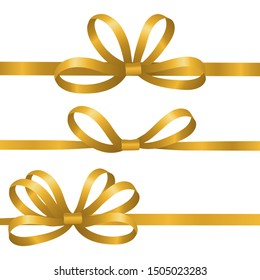 Gold silk ribbons. Satin bows vector elements. Realistic ribbons for gift wrapping isolated on white background