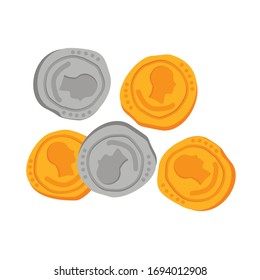 Gold and silver ancient Roman gold coins isolated on white background. Vector illustration