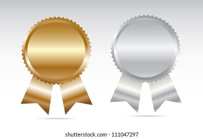 Gold and silver award. Vector