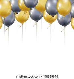 Gold and Silver Balloons. Holiday party background. Vector illustration.
