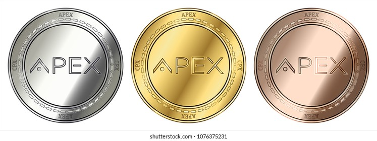 Gold, silver and bronze Apex (CPX) cryptocurrency coin. Apex (CPX) coin set.