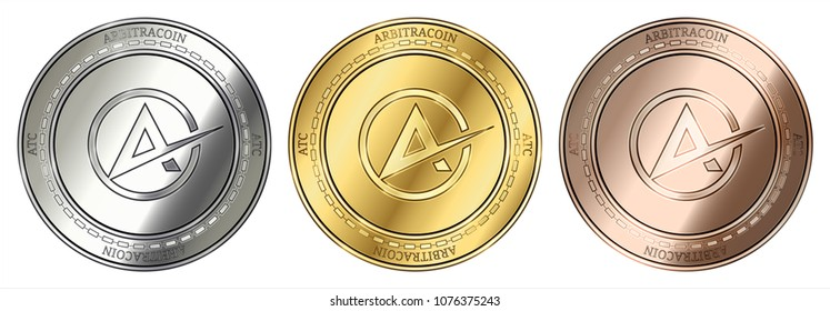 Gold, silver and bronze Arbitracoin (ATC) cryptocurrency coin. Arbitracoin (ATC) coin set.