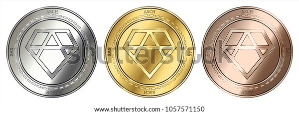Gold, silver and bronze Asch (XAS) cryptocurrency coin. Asch (XAS) coin set.