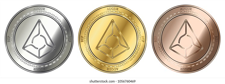 Gold, silver and bronze Augur (REP) cryptocurrency coin. Augur (REP) coin set.