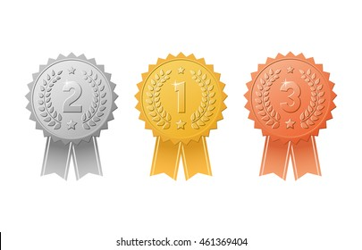 Gold, silver, bronze award badges with color ribbons vector set. Metal medal trophy seals for winners of the 1st, 2nd & 3rd places.