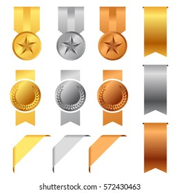Gold, Silver And Bronze Award Medals and Award Ribbons vector set design