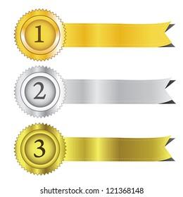 Gold, silver and bronze award ribbons. Vector.eps10