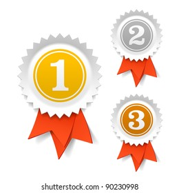 Gold, silver and bronze award ribbons. Vector.