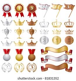 Gold Silver bronze Awards Set. Illustration vector