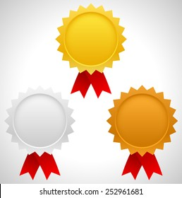 Gold, silver and bronze badges with red ribbons. First three places, award, prizes of contest, competition. Editable vector