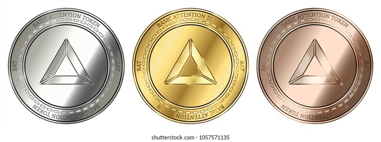 Gold, silver and bronze Basic Attention Token (BAT) cryptocurrency coin. Basic Attention Token (BAT) coin set.