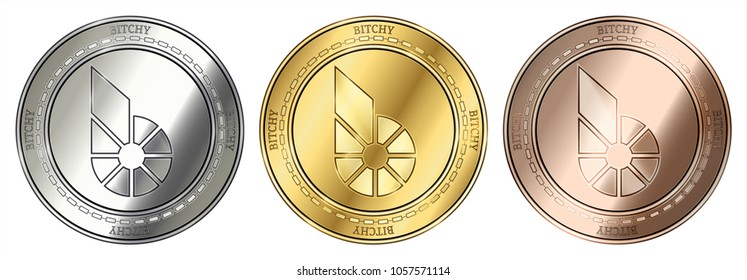 Gold, silver and bronze Bitcny (BITCHY) cryptocurrency coin. Bitcny (BITCHY) coin set.