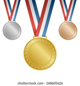 Gold, silver, bronze blank award medals with ribbons