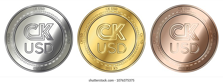 Gold, silver and bronze CK USD (CKUSD) cryptocurrency coin. CK USD (CKUSD) coin set.