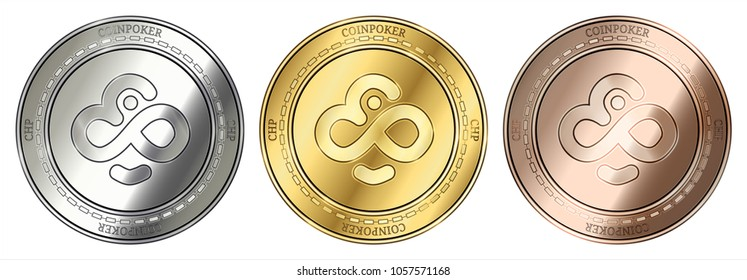Gold, silver and bronze CoinPoker (CHP) cryptocurrency coin. CoinPoker (CHP) coin set.