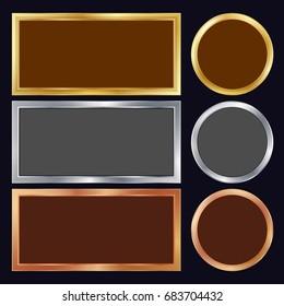 Gold, Silver, Bronze, Copper Metal Frames Vector. Rectangular, Round. Realistic Metallic Plates Illustration