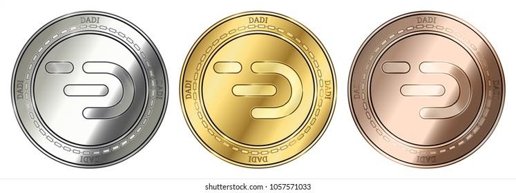 Gold, silver and bronze DADI (DADI) cryptocurrency coin. DADI (DADI) coin set.
