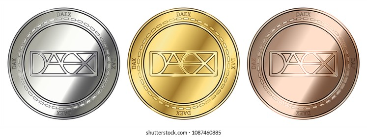 Gold, silver and bronze DAEX (DAX) cryptocurrency coin. DAEX (DAX) coin set.
