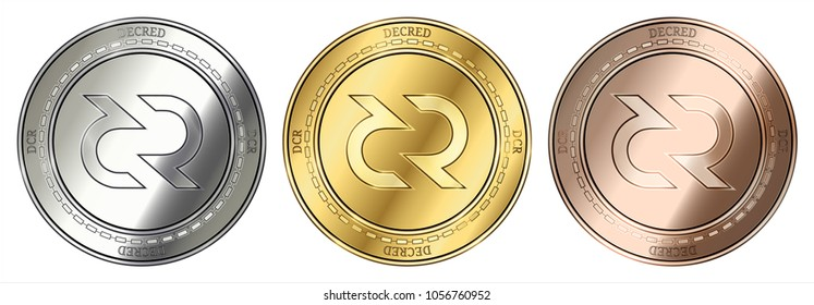 Gold, silver and bronze Decred (DCR) cryptocurrency coin. Decred (DCR) coin set.