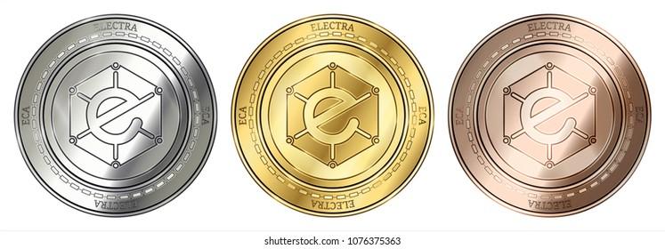 Gold, silver and bronze Electra (ECA) cryptocurrency coin. Electra (ECA) coin set.