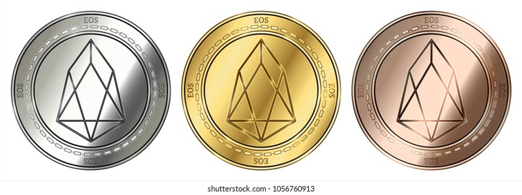 Gold, silver and bronze EOS (EOS) cryptocurrency coin. EOS (EOS) coin set.