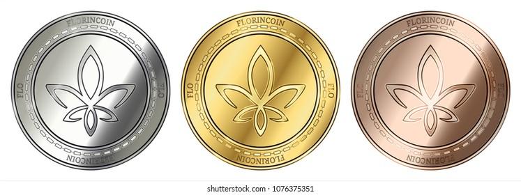 Gold, silver and bronze FlorinCoin (FLO) cryptocurrency coin. FlorinCoin (FLO) coin set.