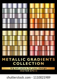 Gold, silver, bronze gradient metallic gradient background collection. Big vector set