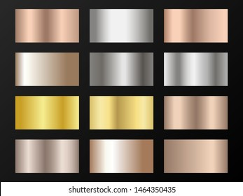 Gold, silver and bronze gradients vector mega set. Metallic gold, silver, steel, chrome, copper, bronze foil texture gradient swatch templates.