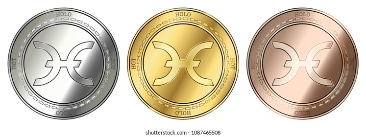 Gold, silver and bronze Holo (HOT) cryptocurrency coin. Holo (HOT) coin set.