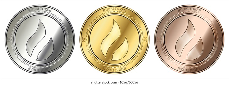 Gold, silver and bronze Huobi Token (HT) cryptocurrency coin. Huobi Token (HT) coin set.