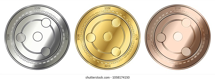 Gold, silver and bronze ION (ION) cryptocurrency coin. ION (ION) coin set.