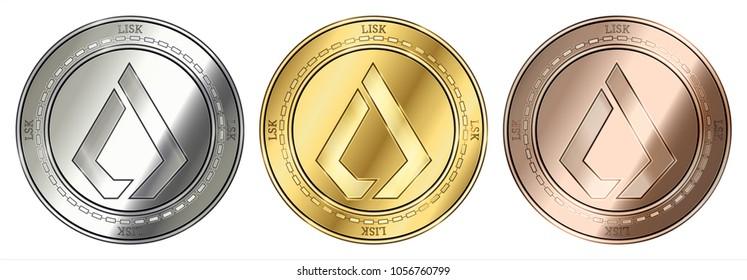Gold, silver and bronze Lisk (LSK) cryptocurrency coin. Lisk (LSK) coin set.