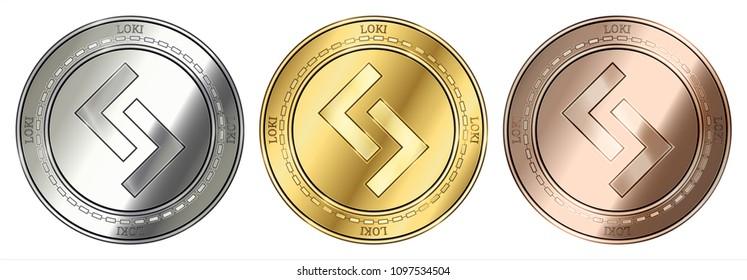 Gold, silver and bronze Loki (LOKI) cryptocurrency coin. Loki (LOKI) coin set.