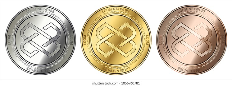 Gold, silver and bronze Loom Network (LOOM) cryptocurrency coin. Loom Network (LOOM) coin set.