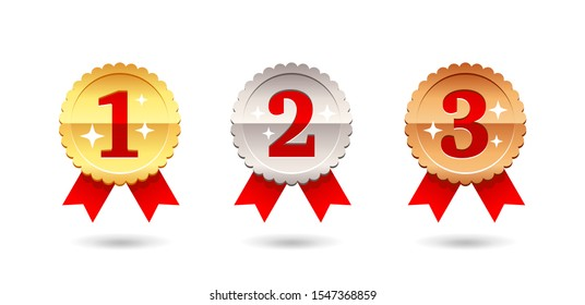Gold, Silver and Bronze medal - 1st, 2nd and 3rd place awards set - three winning places isolatred vector icons