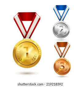 Gold silver and bronze medal awards isolated vector illustration