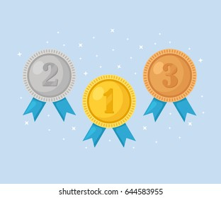 Gold, silver, bronze medal for first place. Trophy, award for winner  isolated on blue background. Golden badge with ribbon. Achievement, victory concept. Vector illustration. Flat style design