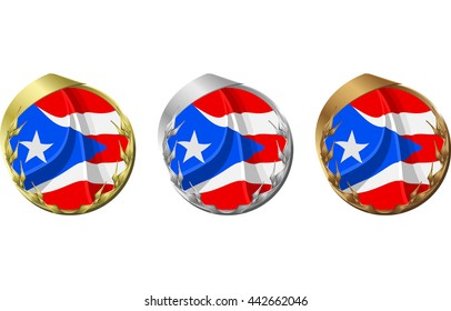A gold, silver and bronze medal with the flag of Puerto Rico inside.
