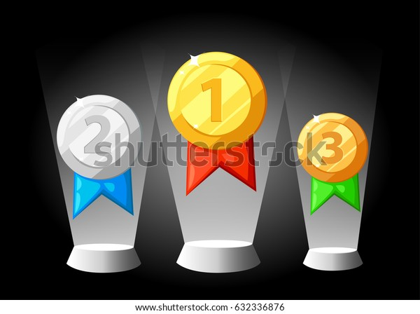 Gold silver bronze Medal icon in flat style. Isolated medal on the white background. Vector illustration.