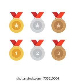Gold, silver and bronze medal icons, vector, illustration.