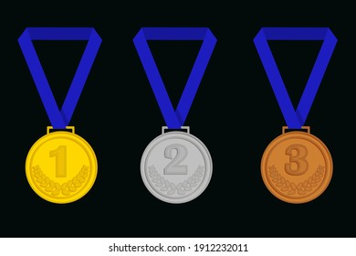 Gold, silver, bronze medal with numbers and blue ribbon on a black background.