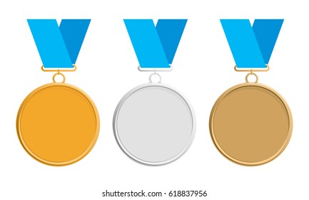 Gold, silver and bronze medal on blue ribbon, icon. Medal set. Flat vector. Elegant medal isolated on white background