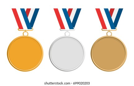 Gold, silver and bronze medal on colorful ribbon, icon. Medal set. Elegant medal isolated on white background. Placement in a sporting competition contest or business challenge.