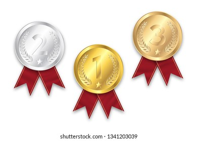 Gold, silver and bronze medal with red ribbon on the white background. Vector illustration.