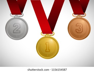 Gold, silver and bronze medal. Set sport medal on tape. Isolated on white vector illustration
