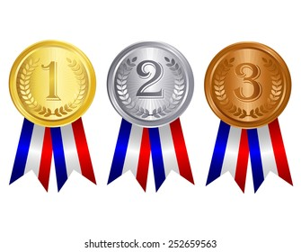 Gold , silver , and bronze medal set with red blue silver mix color ribbons