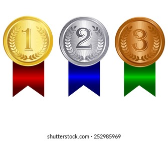 Gold silver and bronze medals for 1st , 2nd and 3rd places with red blue and green ribbons. Isolated clip art / graphic on white background