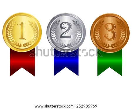gold silver bronze medals 1st 2nd stock vector royalty free