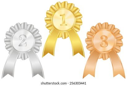 Gold, silver and bronze medals  with awards ribbons. First place, second place, third place  - vector drawing isolated on white background